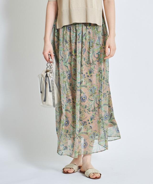 ペイズリーシフォンギャザースカート