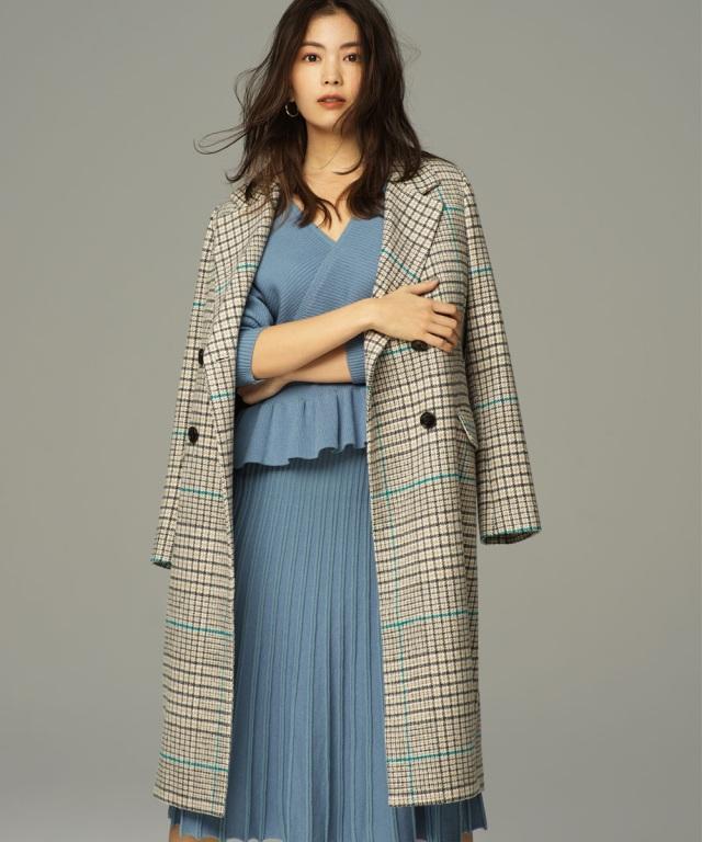 【矢野未希子さん着用】グレンチェックチェスターコート《店舗販売日は9月30日からになります》