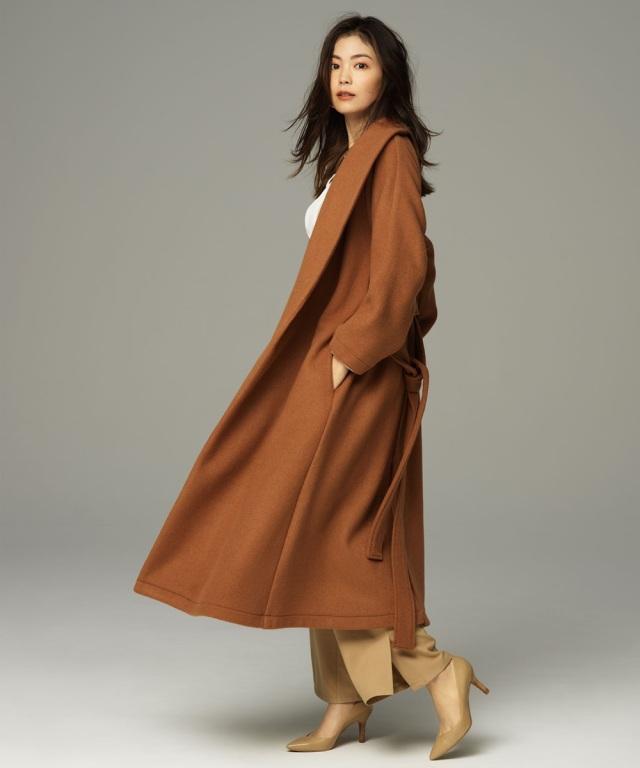 【矢野未希子さん着用】ウールショールカラーコート《店舗は9/19からの販売になります》