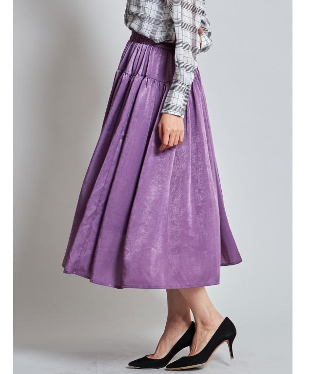 シャイニーギャザー切り替えスカート《店舗販売日は9月11日からとなります》SALE品につき返品/交換/注文確定後の変更キャンセル不可