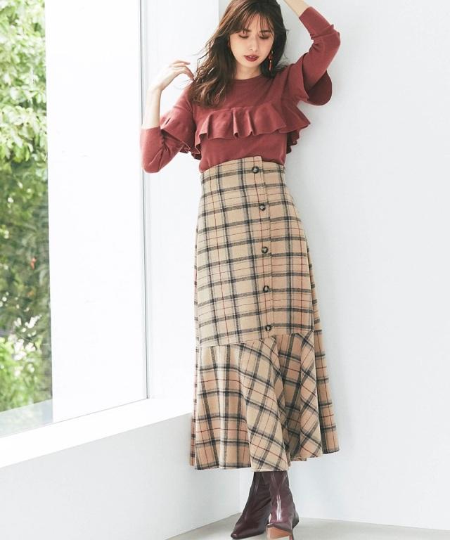 起毛チェック裾フレアスカート
