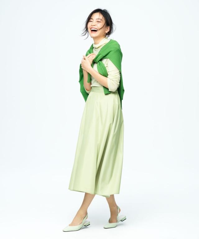 【矢野未希子さん着用】タフタギャザーフレアスカート