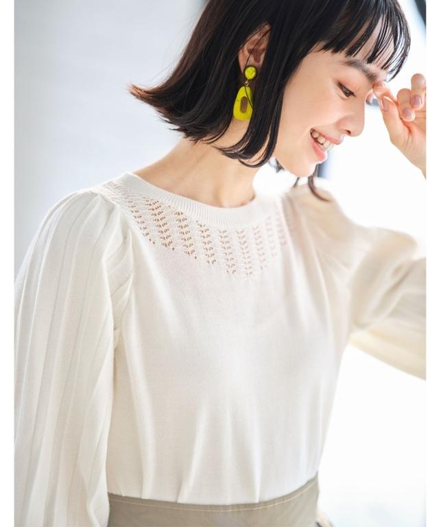透かし編み袖プリーツニットプルオーバー《EARLY SPRING COLLECTION》※店舗販売日は1月16日~になります