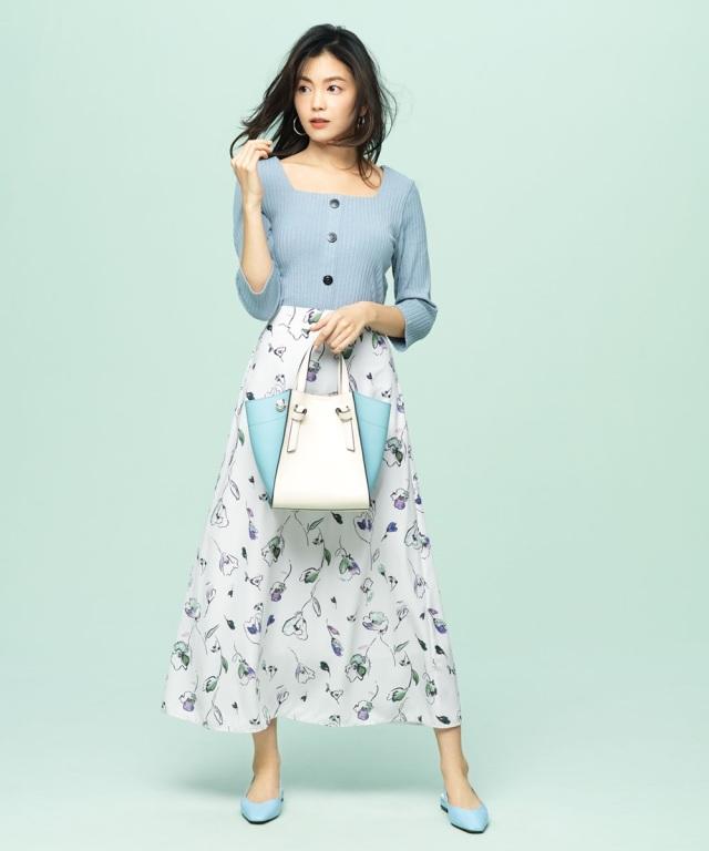 【矢野未希子さん着用】配色ラインフラワースカート