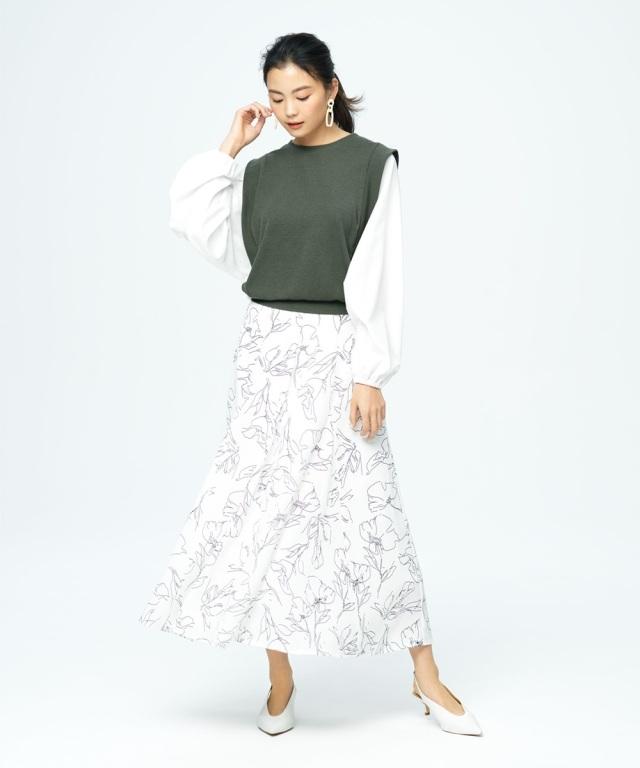 【矢野未希子さん着用】ラインフラワープリントフレアスカート