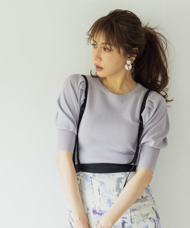 【美香さん着用】タックスリーブニットトップス