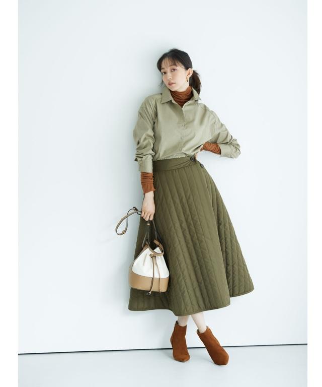 《松島花さん着用》《金子麻貴さん着用》ラップ風キルティングスカート