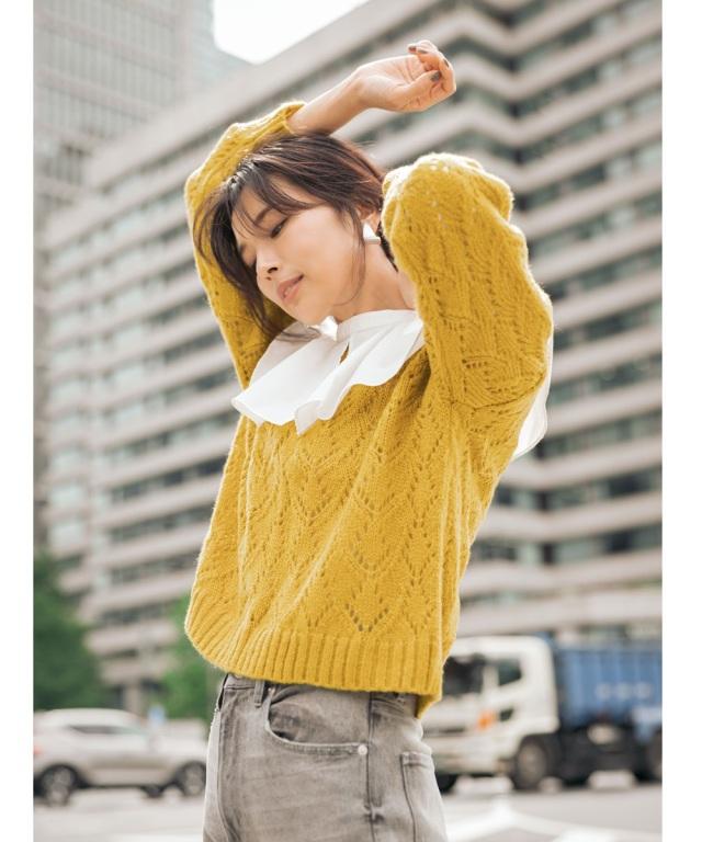 モヘアタッチ透かし編みプルオーバー