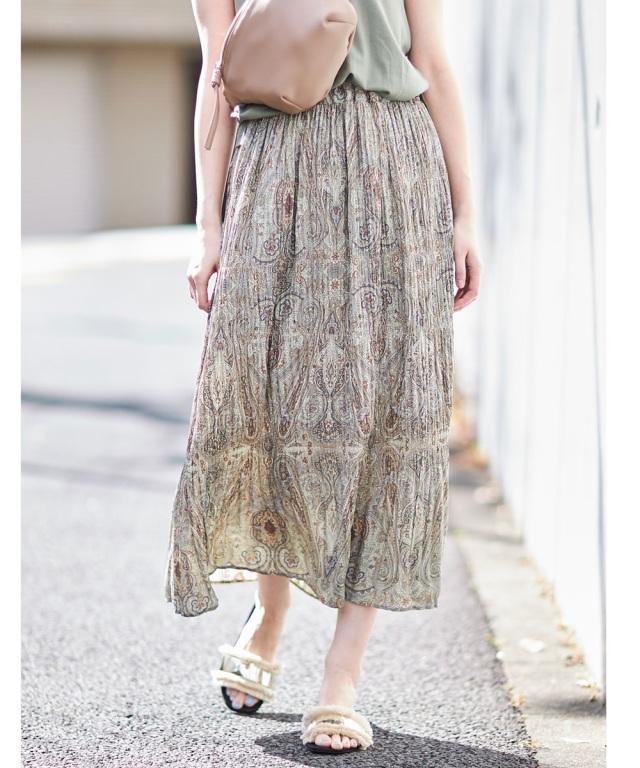 ペイズリー柄ジョーゼットスカート