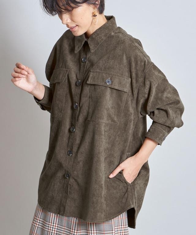 メランジコールシャツジャケット