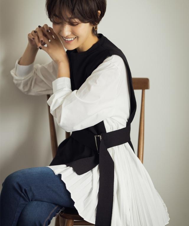 《稲垣莉生さんyoutube使用アイテム》《ミサキの。使用アイテム》《金子麻貴さん着用》ベルト付レイヤー風ニット