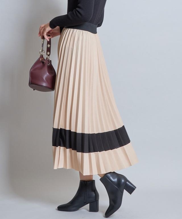 プリーツ配色スカート