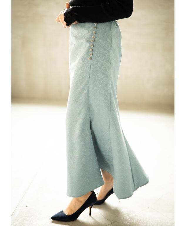 《岩間恵さん着用》セミフレアスリットスカート*SALE品につき返品/交換/注文確定後の変更キャンセル不可*