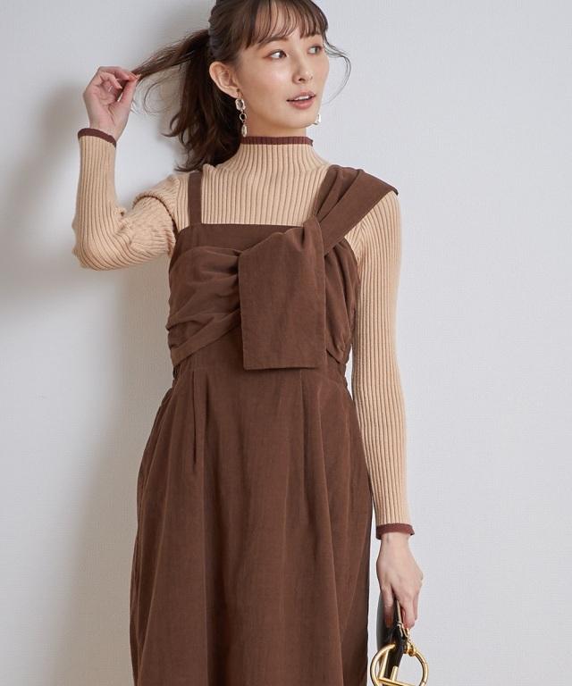 コーデュロイフロントツイストジャンパースカート《一部店舗のみ入荷》