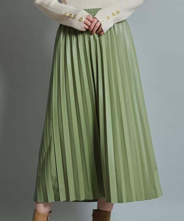 レザーアコーディオンプリーツスカート《一部店舗のみ入荷》