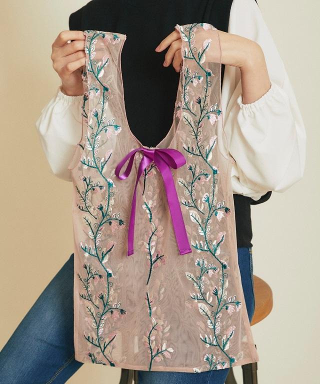 4月23日オフィシャルサイト限定再販!チュール刺繍エコバッグ