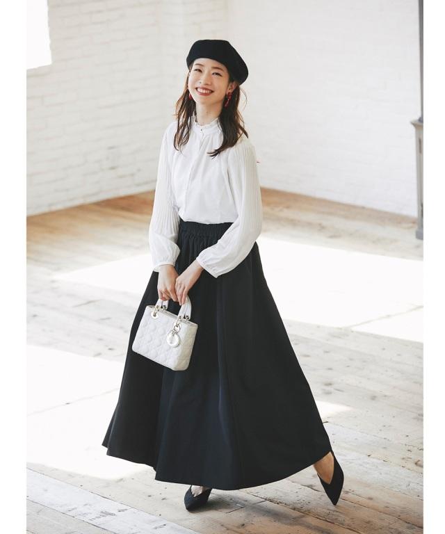 【横内万葉さん着用】【石井亜美さん着用】タフタマキシスカート《BLACK DRESS UP》※一部店舗のみ入荷
