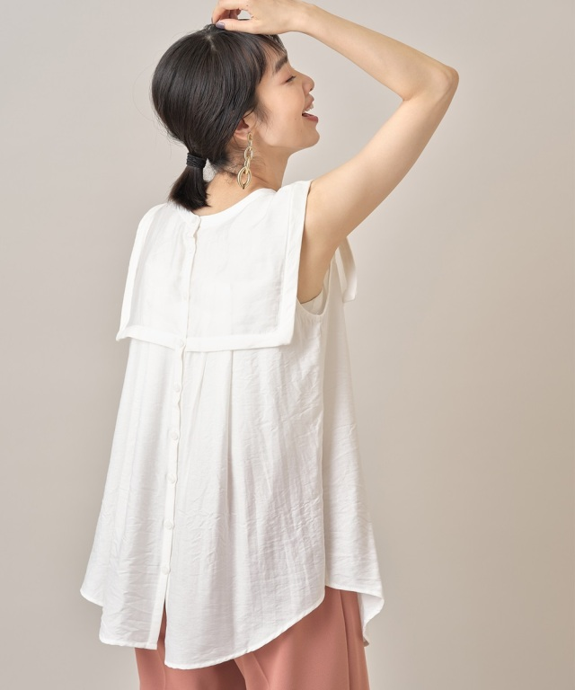 7月28日午前0:00 オフィシャルサイト限定少量再販!シアー衿付きクレープブラウス
