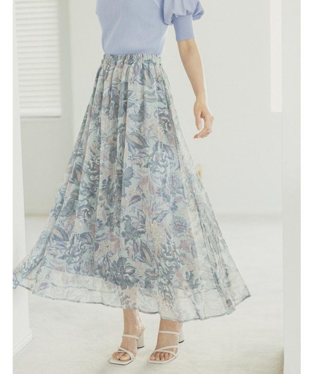 シフォン楊柳フラワープリントスカート 《Mid Summer Collection》 ※一部店舗のみ入荷