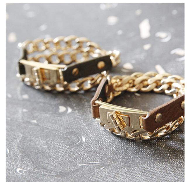 【Leather chain bangle】レディース バングル