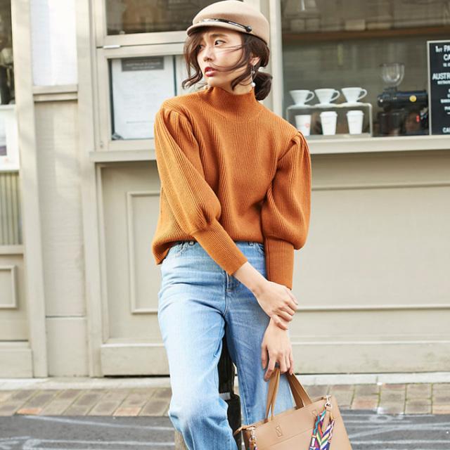 【Wool volume sleeve knit】レディース ボリューム袖 ニット