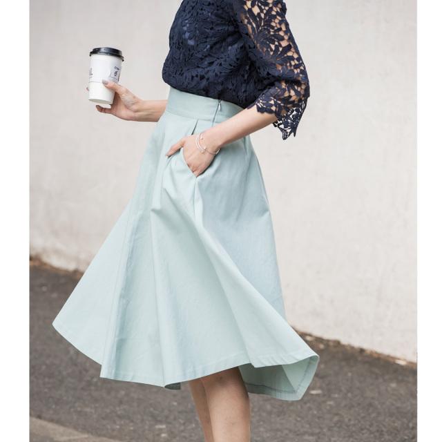 【Cotton flare skirt】レディース  綿 フレア スカート*SALE品につき返品/交換/注文確定後の変更キャンセル不可*