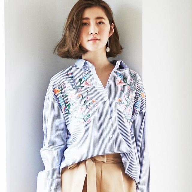 【Flower embroidery blouse】レディース 花刺繍 ブラウス*SALE品につき返品/交換/注文確定後の変更キャンセル不可*