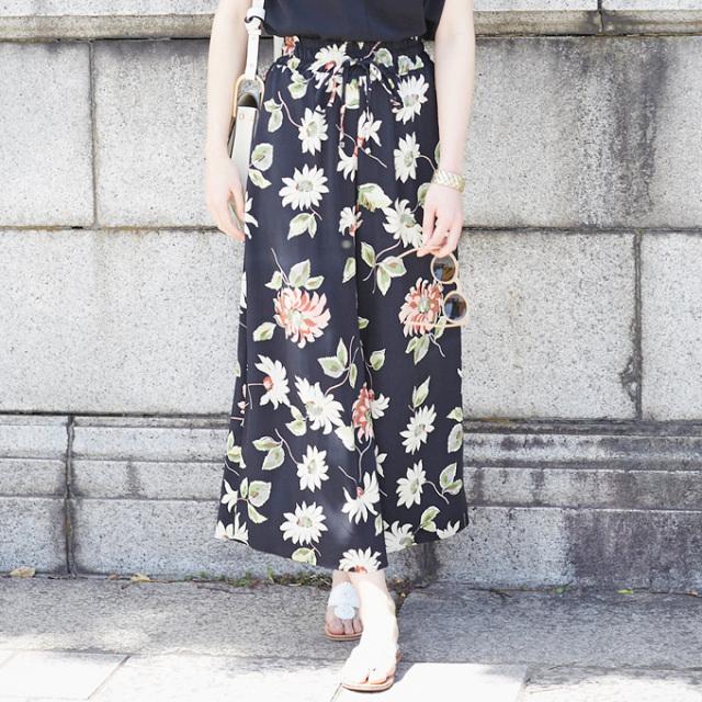 【Antique flower print wide pants】レディース  花柄 ワイド パンツ