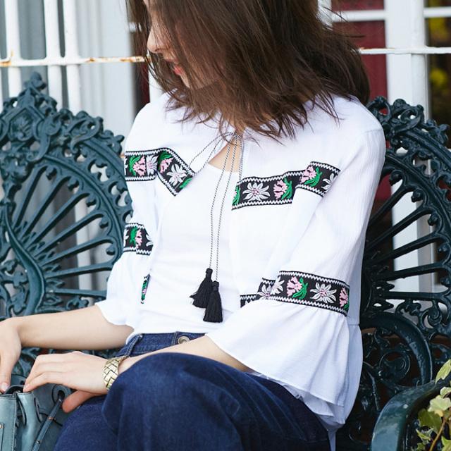 【Embroidery blouse】レディース  刺繍 ブラウス*SALE品につき返品/交換/注文確定後の変更キャンセル不可*