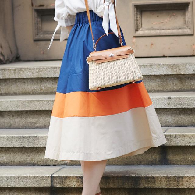 【Tricolor skirt】レディース  トリコロール スカート