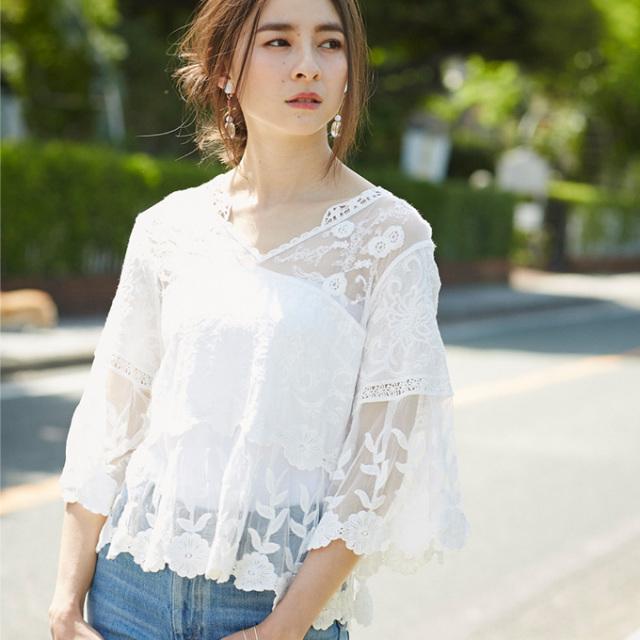 6月25日午前0:00再販【Lace design blouse】レディース  レース ブラウス