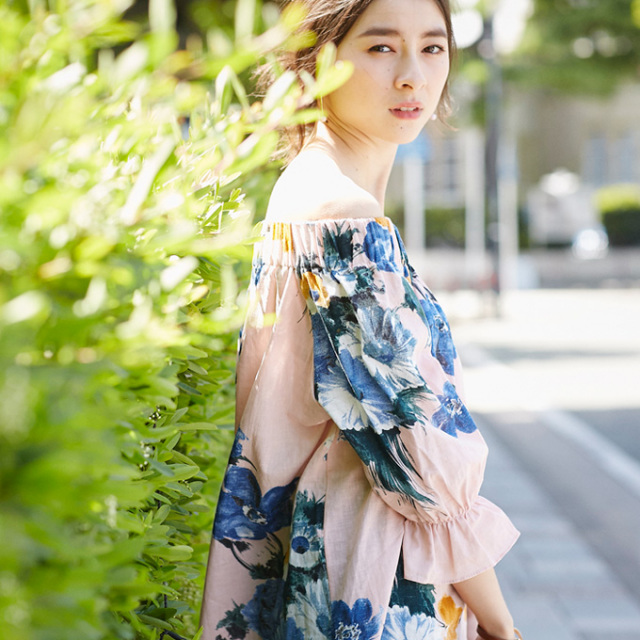 【Flower off shoulder blouse】レディース  花柄 オフショルダー ブラウス
