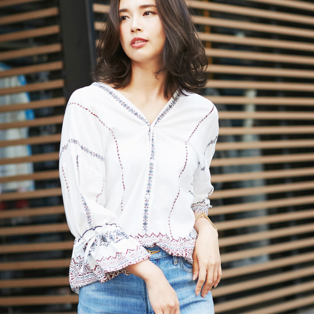【Embroidery blouse】レディース 刺繍 ブラウス
