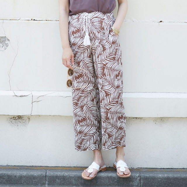 【Botanical print  pants】レディース  ボタニカル柄 パンツ