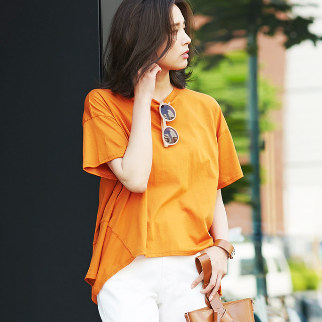 【Side flare T shirt】レディース サイド フレア Tシャツ*SALE品につき返品/交換/注文確定後の変更キャンセル不可*
