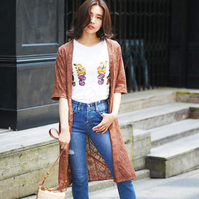 【Lace embroidery cardigan】レディース  レース刺繍 カーディガン