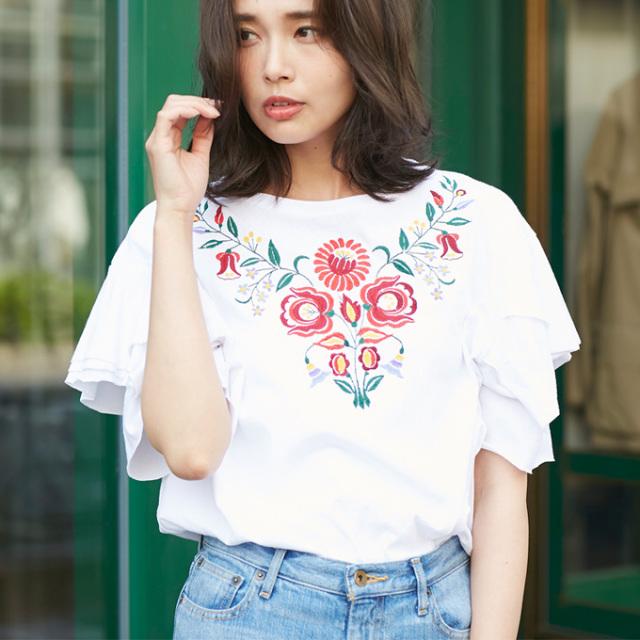 【Embroidery T shirt】レディース 刺繍 Tシャツ