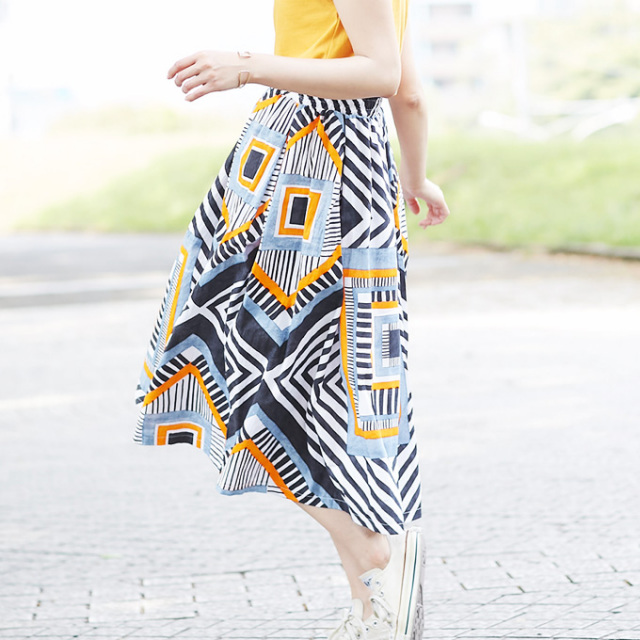 【Geometry patten skirt】レディース  幾何学柄 スカート