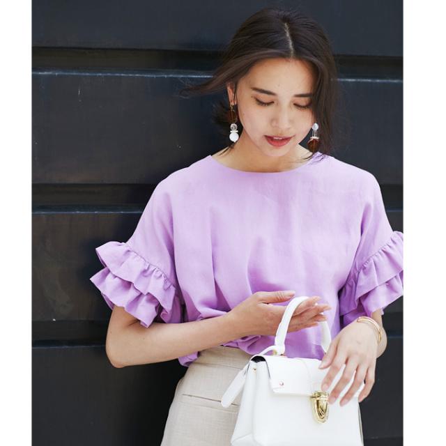 【Frill sleeve linen tops】レディース  リネン フリル トップス