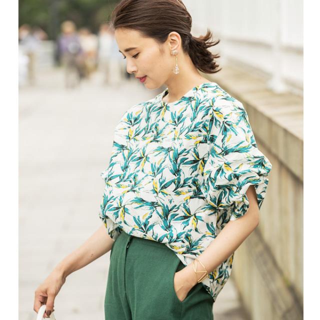 【Botanical  print blouse】レディース ボタニカル柄 ブラウス