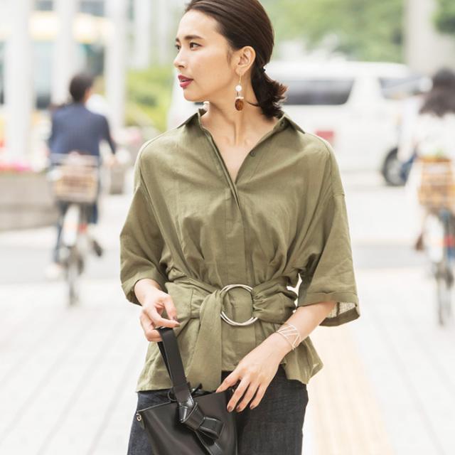 【Waist belt linen blouse】レディース ベルト リネン ブラウス