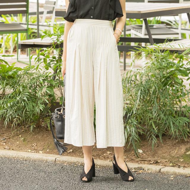 【Stripe tuck wide pants】レディース  ストライプ タック ワイドパンツ