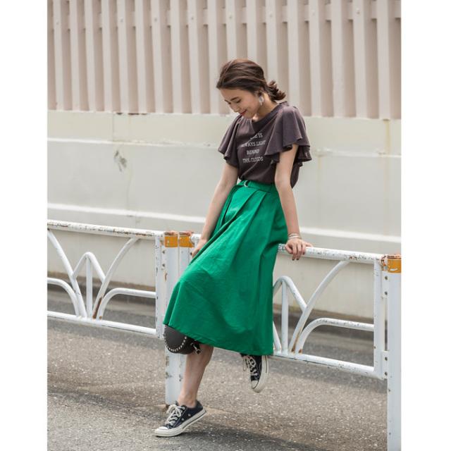 【Cotton linen belt skirt】レディース  コットンリネン ベルト付き スカート