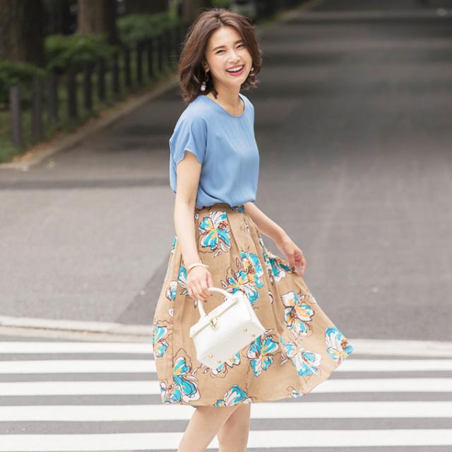 【Flower print skirt】レディース  花柄 タック スカート