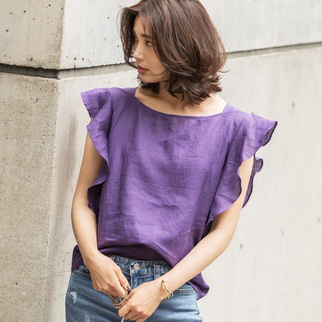 8月20日午前0:00再販【Frill sleeve linen tops】レディース フリルスリーブ リネン トップス
