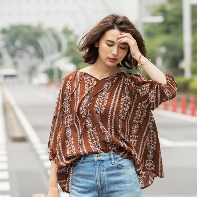 【Vintage print blouse】レディース 刺繍風 プリント ブラウス