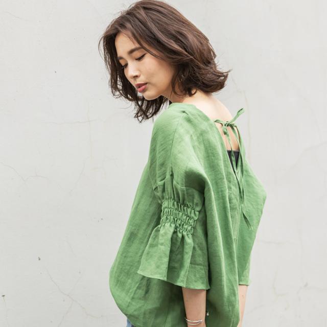 9月29日午前0:00再販【Back ribbon flare sleeve tops】レディース バックリボン リネン トップス