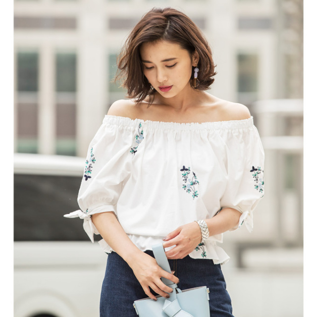 【Embroidery 2way ribbon blouse】レディース 刺繍 リボン ブラウス