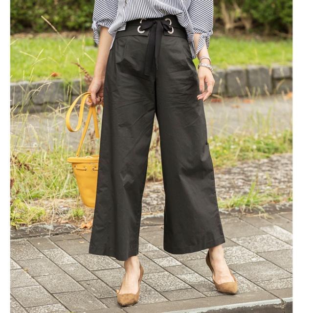【Lace up wide pants】レディース  レースアップ パンツ