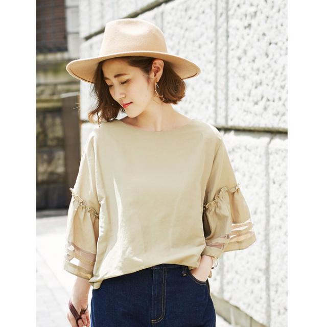 【Flare sleeve see-through blouse】フレア シースルー ブラウス